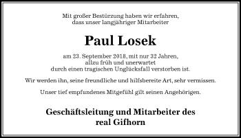 Traueranzeige für Paul Losek vom 01.10.2018 aus Aller Zeitung