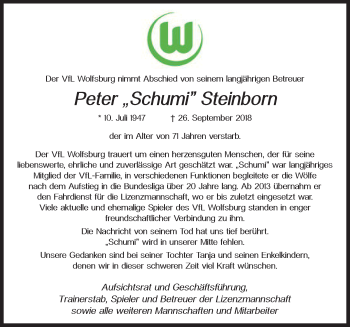 Traueranzeige für Peter  Steinborn vom 06.10.2018 aus Aller Zeitung