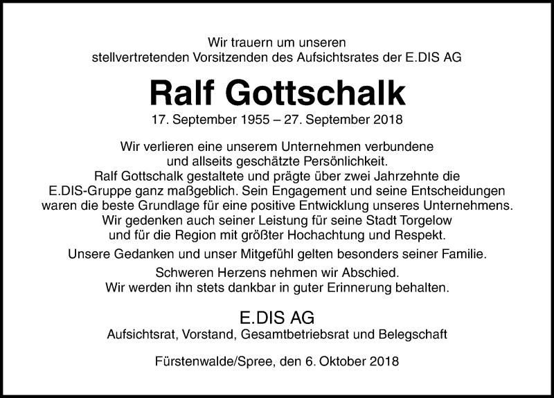 Traueranzeige von  Ralf Gottschalk