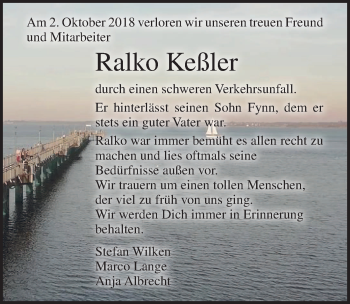 Traueranzeige für Ralko Keßler vom 13.10.2018 aus Ostsee-Zeitung GmbH