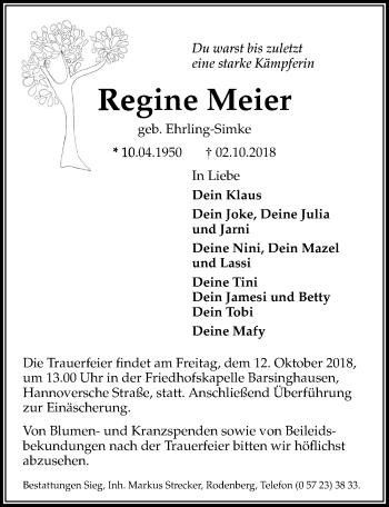 Traueranzeige für Regine Meier vom 10.10.2018 aus Hannoversche Allgemeine Zeitung/Neue Presse