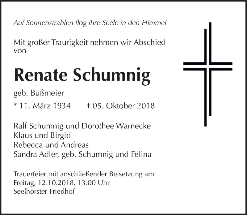 Traueranzeige von  Renate Schumnig