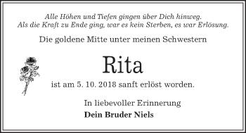 Traueranzeige für Rita  vom 10.10.2018 aus Kieler Nachrichten