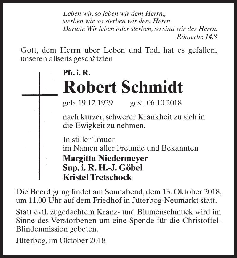 Traueranzeige für Robert Schmidt vom 10.10.2018 aus Märkischen Allgemeine Zeitung
