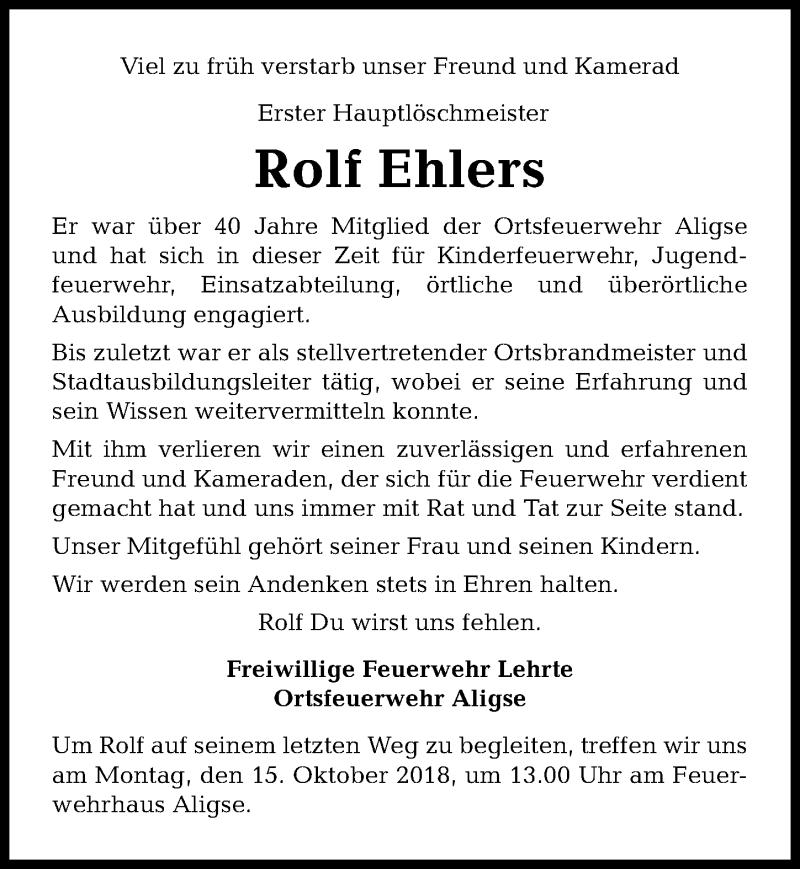 Traueranzeige von  Rolf Ehlers