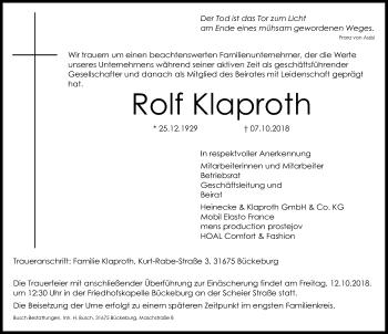 Traueranzeige für Rolf Klaproth vom 11.10.2018 aus Schaumburger Nachrichten