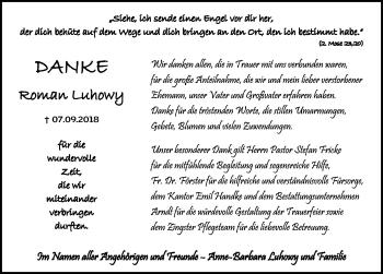 Traueranzeige für Roman Luhowy vom 06.10.2018 aus Ostsee-Zeitung GmbH