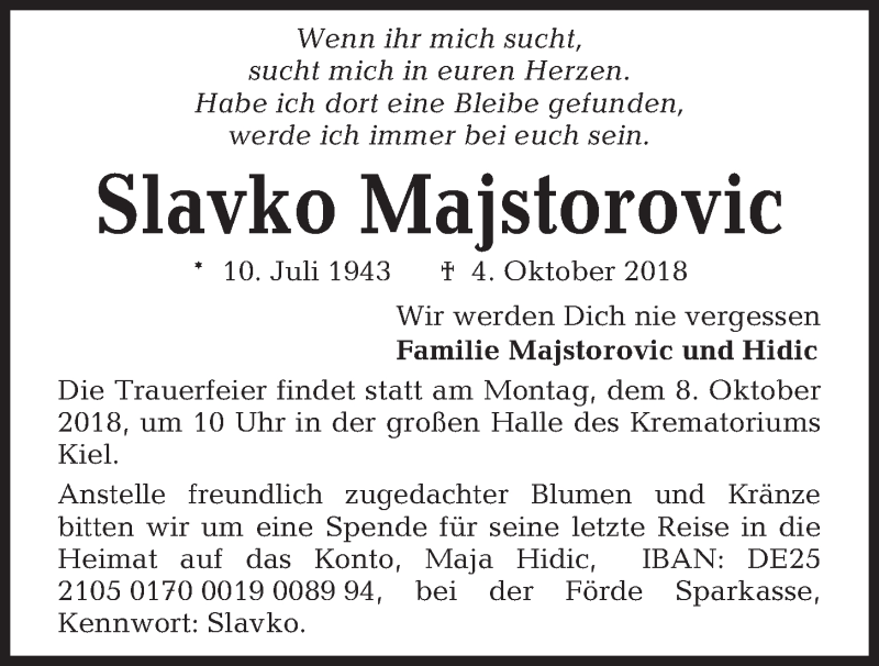 Traueranzeige für Slavko Majstorovic vom 06.10.2018 aus Kieler Nachrichten