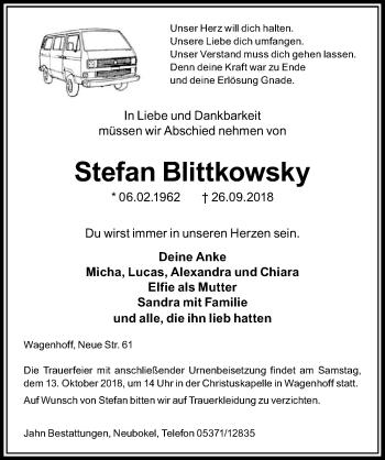 Traueranzeige für Stefan Blittkowsky vom 02.10.2018 aus Aller Zeitung