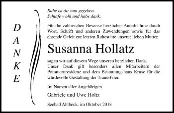 Traueranzeige für Susanna Hollatz vom 27.10.2018 aus Ostsee-Zeitung GmbH