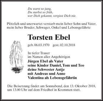 Traueranzeige für Torsten Ebel vom 10.10.2018 aus Märkischen Allgemeine Zeitung