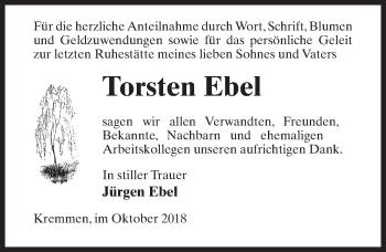 Traueranzeige für Torsten Ebel vom 20.10.2018 aus Märkischen Allgemeine Zeitung