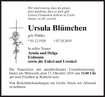 Traueranzeige für Ursula Blümchen vom 10.10.2018 aus Märkischen Allgemeine Zeitung