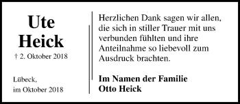 Traueranzeige für Ute Heick vom 21.10.2018 aus Lübecker Nachrichten