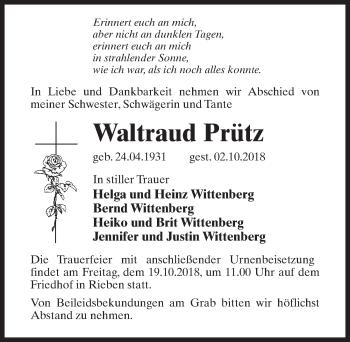 Traueranzeige für Waltraud Prütz vom 06.10.2018 aus Märkischen Allgemeine Zeitung