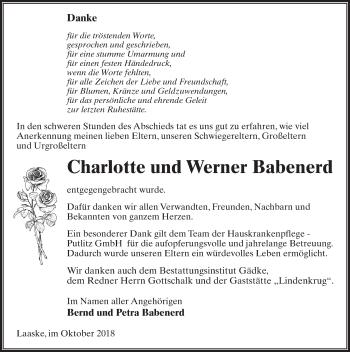 Traueranzeige für Werner Babenerd vom 27.10.2018 aus Märkischen Allgemeine Zeitung