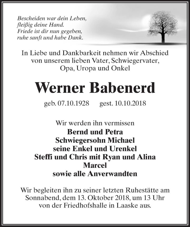 Traueranzeige für Werner Babenerd vom 11.10.2018 aus Märkischen Allgemeine Zeitung