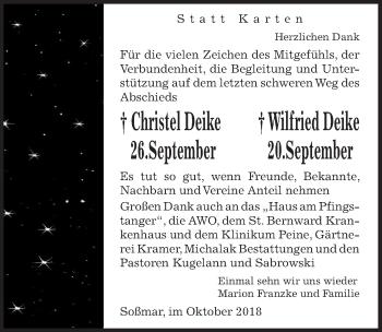 Traueranzeige für Wilfried Deike vom 27.10.2018 aus Peiner Allgemeine Zeitung