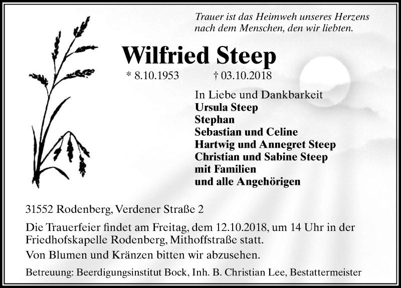 Traueranzeige für Wilfried Steep vom 09.10.2018 aus Schaumburger Nachrichten