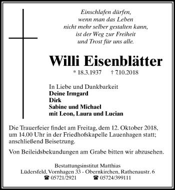 Traueranzeige für Willi Eisenblätter vom 10.10.2018 aus Schaumburger Nachrichten