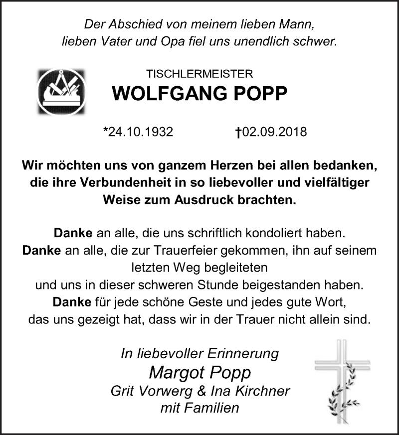 Traueranzeige von  Wolfgang Popp