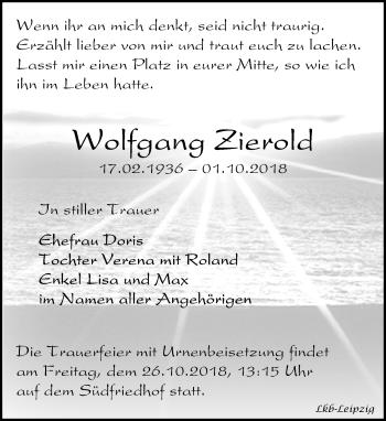 Traueranzeige für Wolfgang Zierold vom 06.10.2018 aus Leipziger Volkszeitung