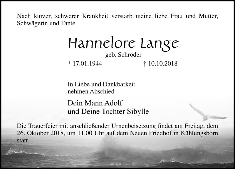 Traueranzeige für Hannelore Lange vom 13.10.2018 aus