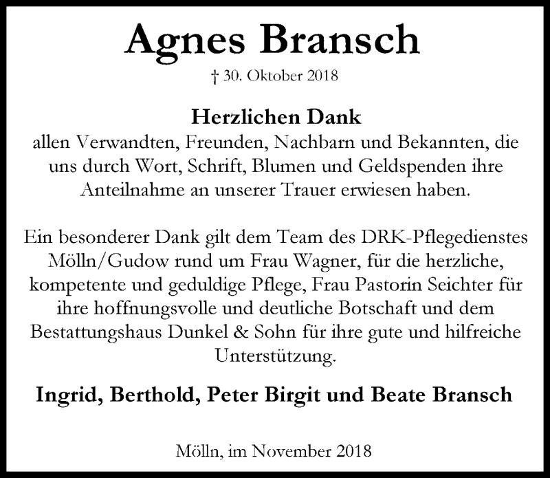 Traueranzeige von  Agnes Bransch