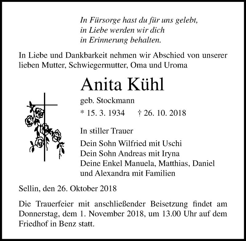 Traueranzeige von  Anita Kühl