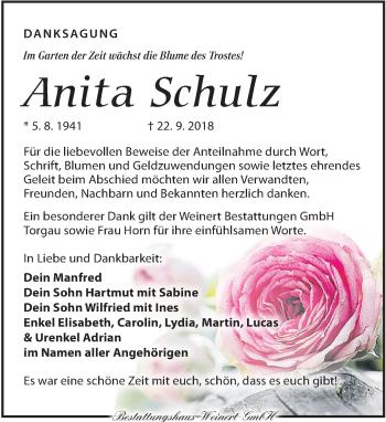 Traueranzeige für Anita Schulz vom 03.11.2018 aus Torgauer Zeitung