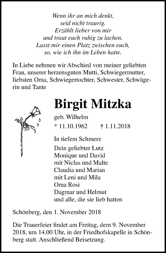 Traueranzeige von  Birgit Mitzka