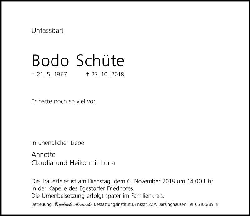 Traueranzeige von  Bodo Schüte