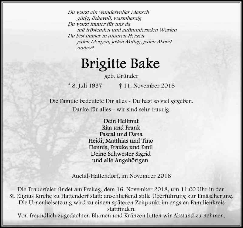 Traueranzeige für Brigitte Bake vom 14.11.2018 aus Schaumburger Nachrichten
