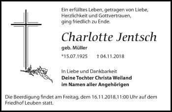 Traueranzeige für Charlotte Jentsch vom 10.11.2018 aus Dresdner Neue Nachrichten
