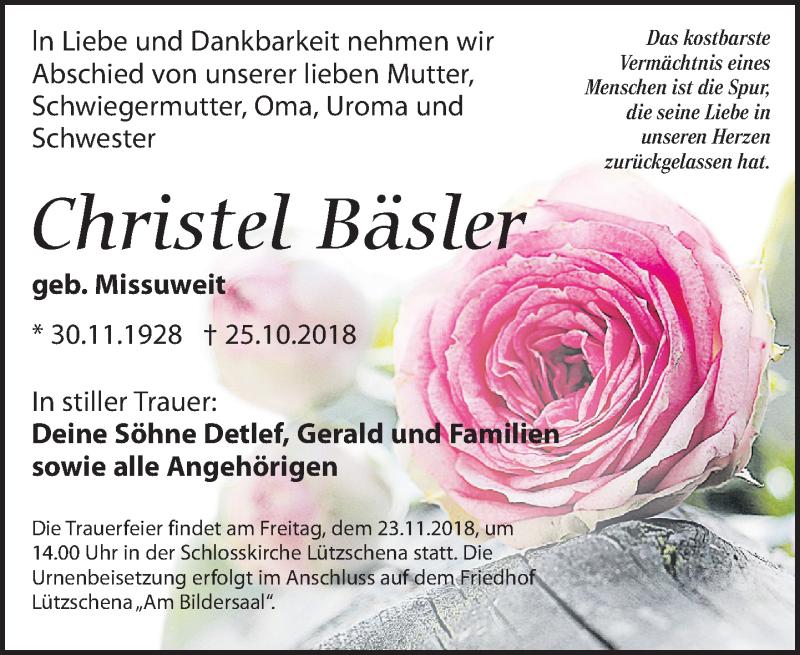 Traueranzeige von  Christel Bäsler