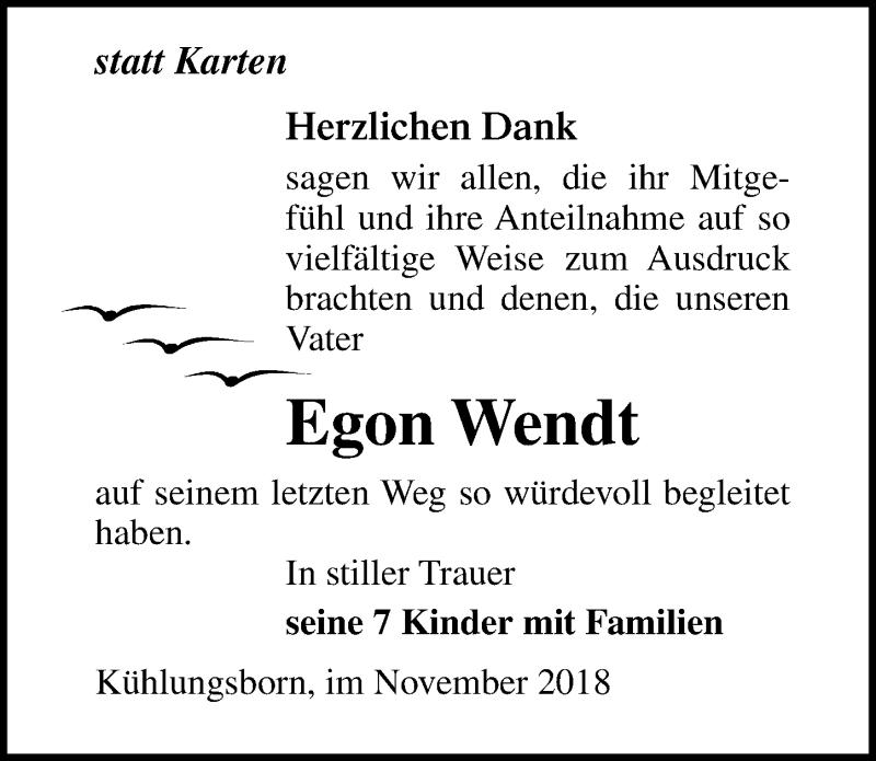 Traueranzeige von  Egon Wendt