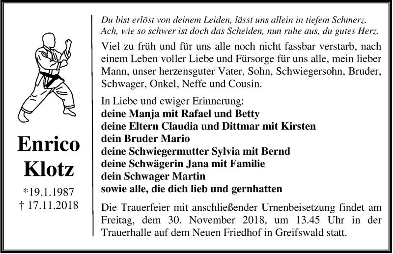 Traueranzeige für Enrico Klotz vom 24.11.2018 aus Ostsee-Zeitung GmbH
