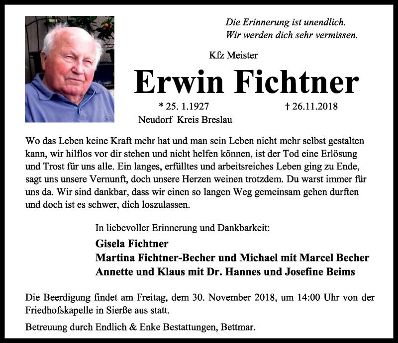 Traueranzeige für Erwin Fichtner vom 28.11.2018 aus Peiner Allgemeine Zeitung