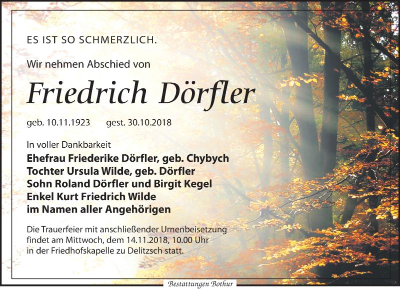 Traueranzeige von  Friedrich Dörfler
