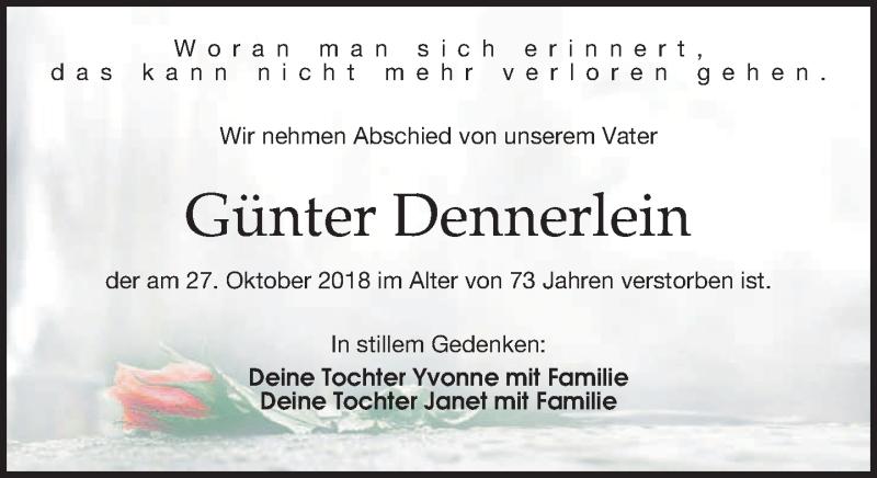 Traueranzeige von  Günter Dennerlein