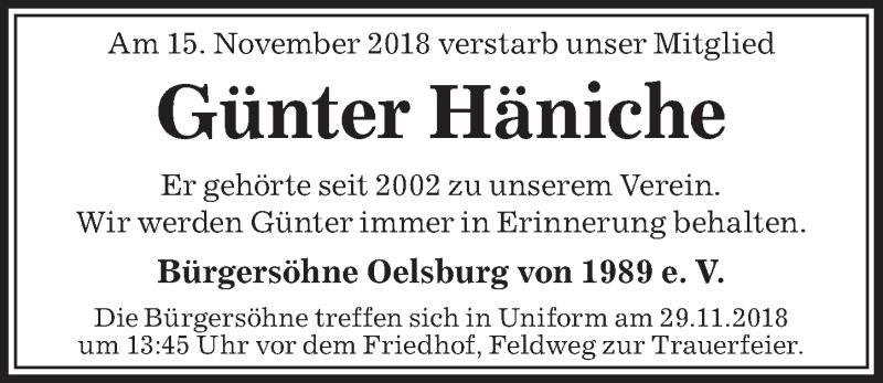 Traueranzeige für Günter Häniche vom 27.11.2018 aus Peiner Allgemeine Zeitung