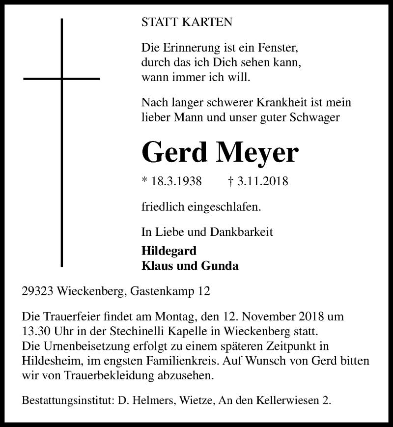 Traueranzeige von  Gerd Meyer