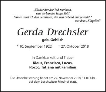 Traueranzeige für Gerda Drechsler vom 17.11.2018 aus Dresdner Neue Nachrichten