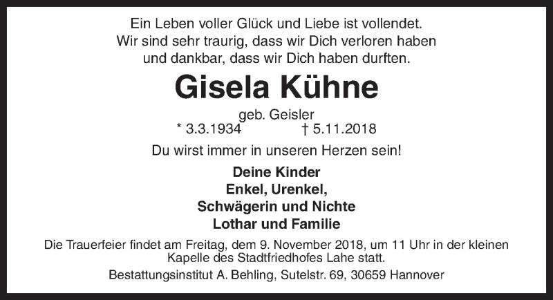Traueranzeige von  Gisela Kühne