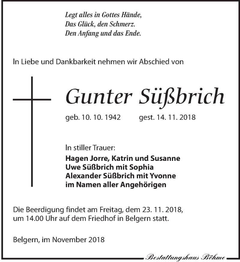 Traueranzeige für Gunter Süßbrich vom 17.11.2018 aus Torgauer Zeitung