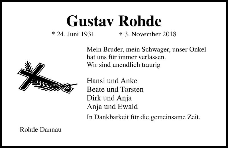 Traueranzeige von  Gustav Rohde