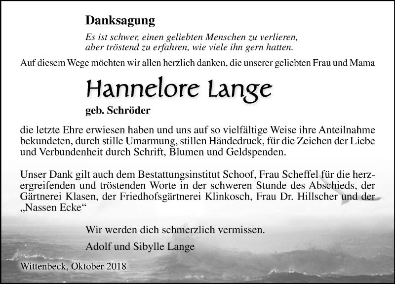Traueranzeige für Hannelore Lange vom 02.11.2018 aus Ostsee-Zeitung GmbH