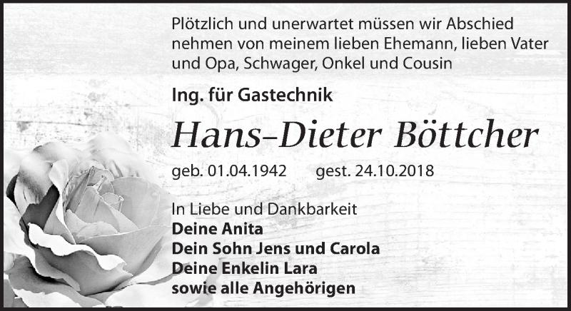 Traueranzeige von  Hans-Dieter Böttcher