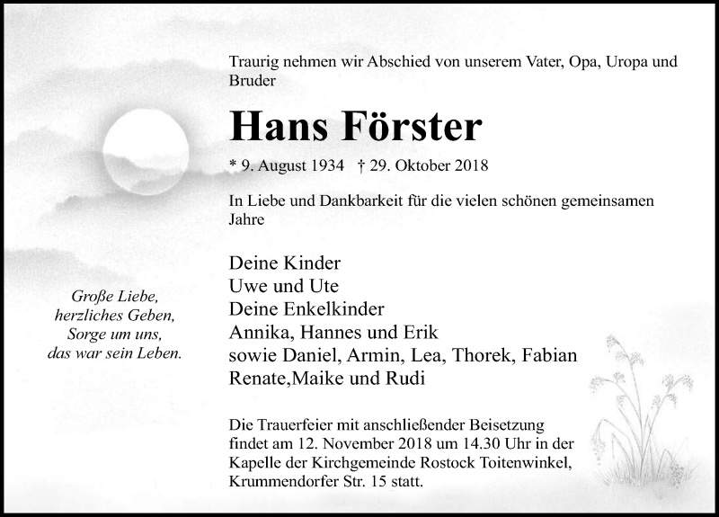 Traueranzeige von  Hans Förster