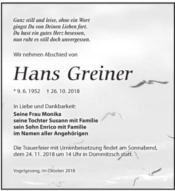 Traueranzeige für Hans Greiner vom 03.11.2018 aus Torgauer Zeitung